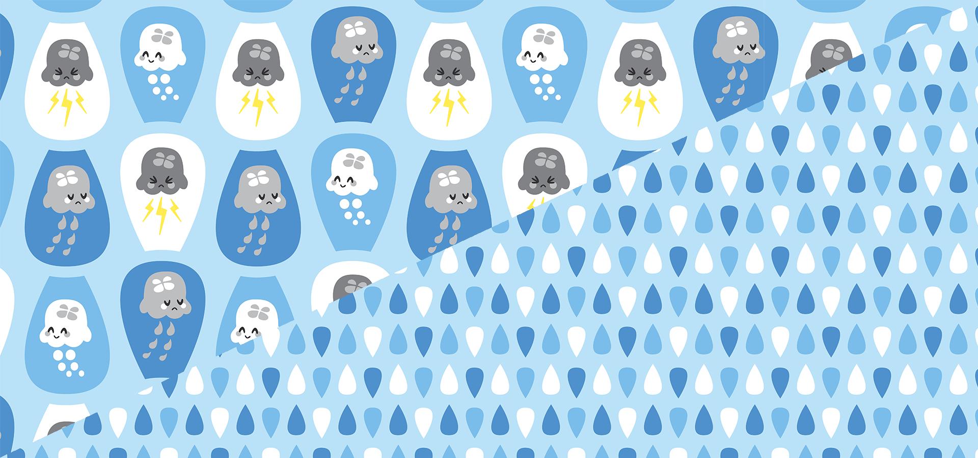 Collection motifs méduses météo et gouttes
