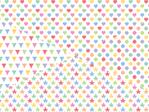 Pixelated hearts stars triangles and dots