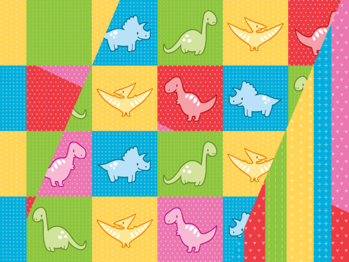 Colorful dinosaurs and pterodactyl cheater quilt