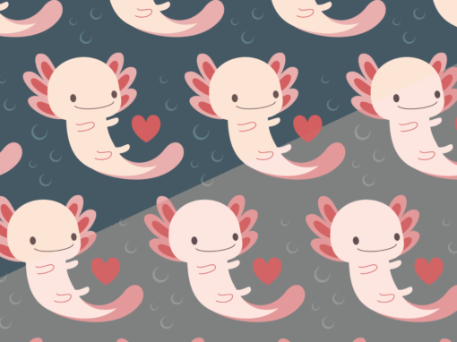 Axolotls, hearts and bubbles