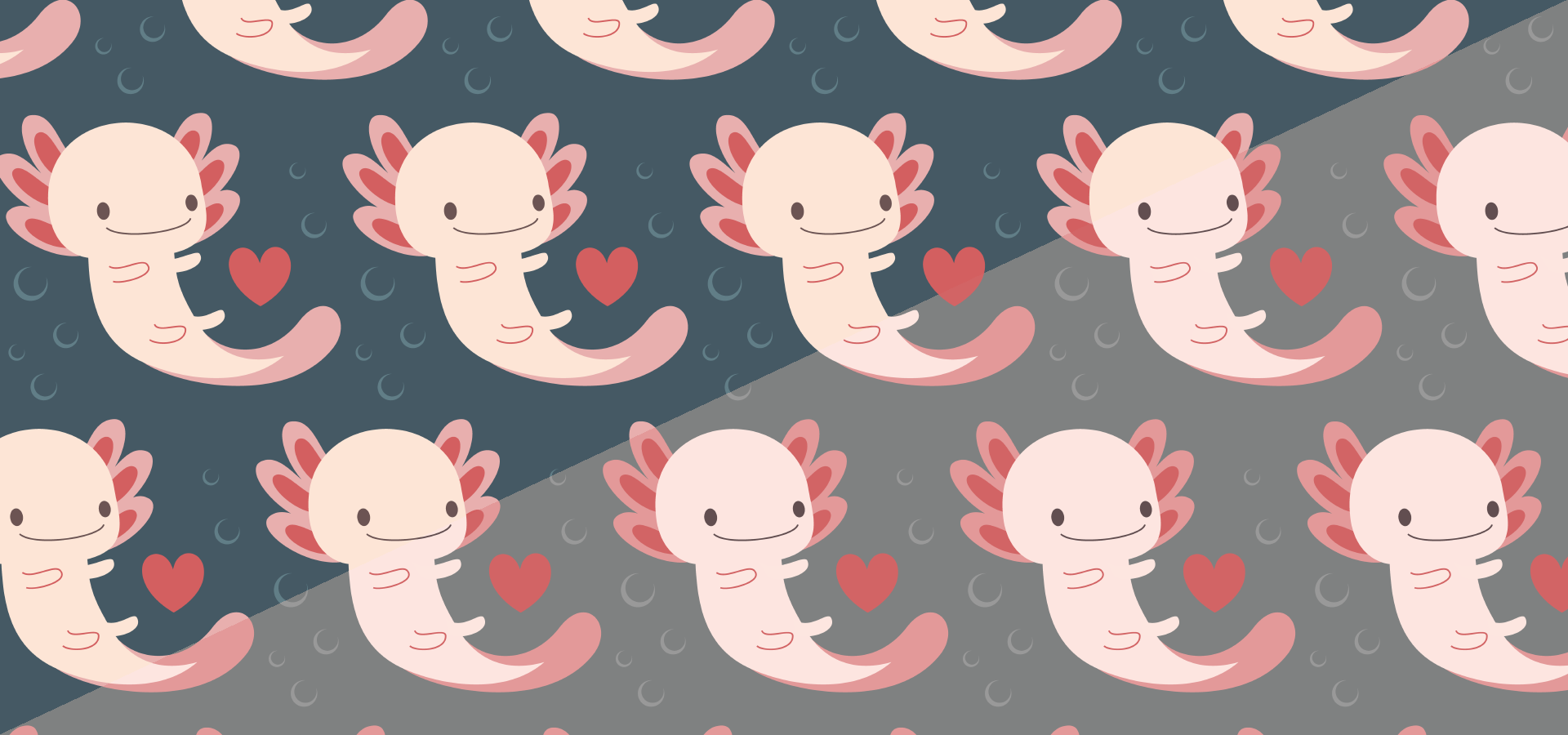 axolotls hearts bubbles pattern collection