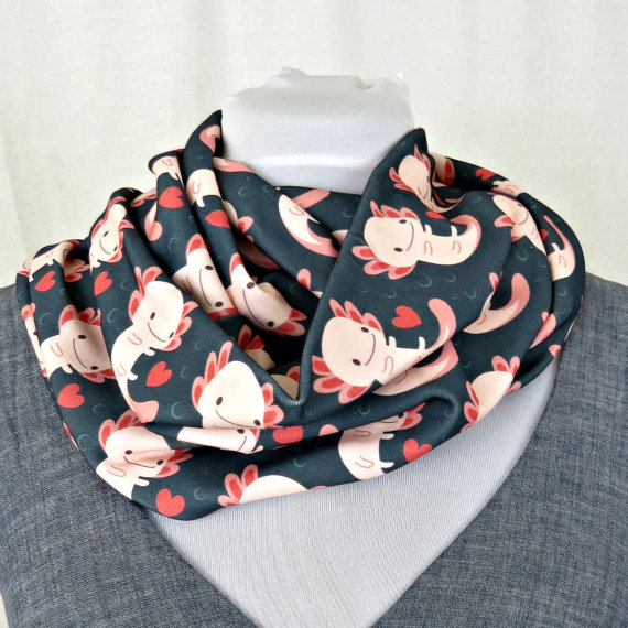 Axolotls and hearts Infinity scarf by Disturbingly Adorable