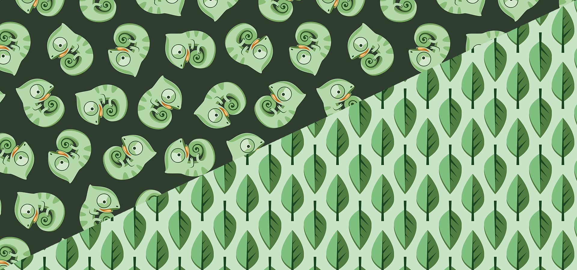 Collection motifs bébés caméléons