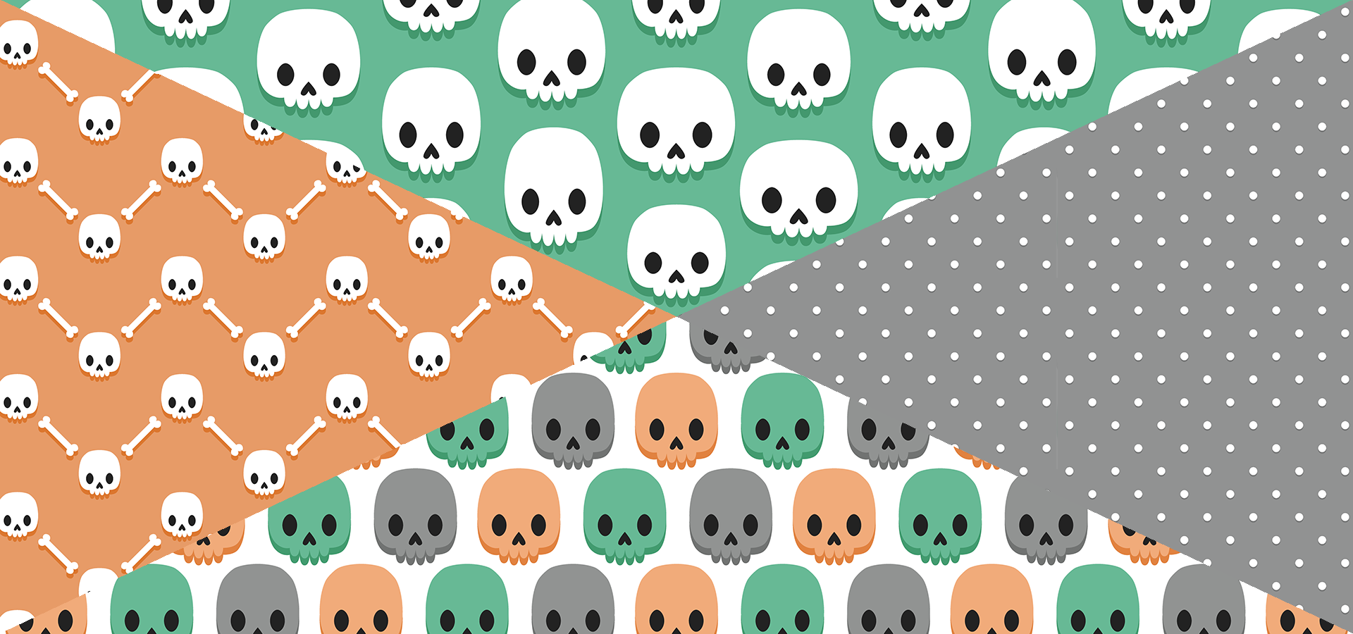 cute skulls pattern collection