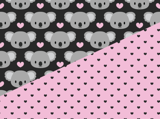 Cute koalas and pink hearts