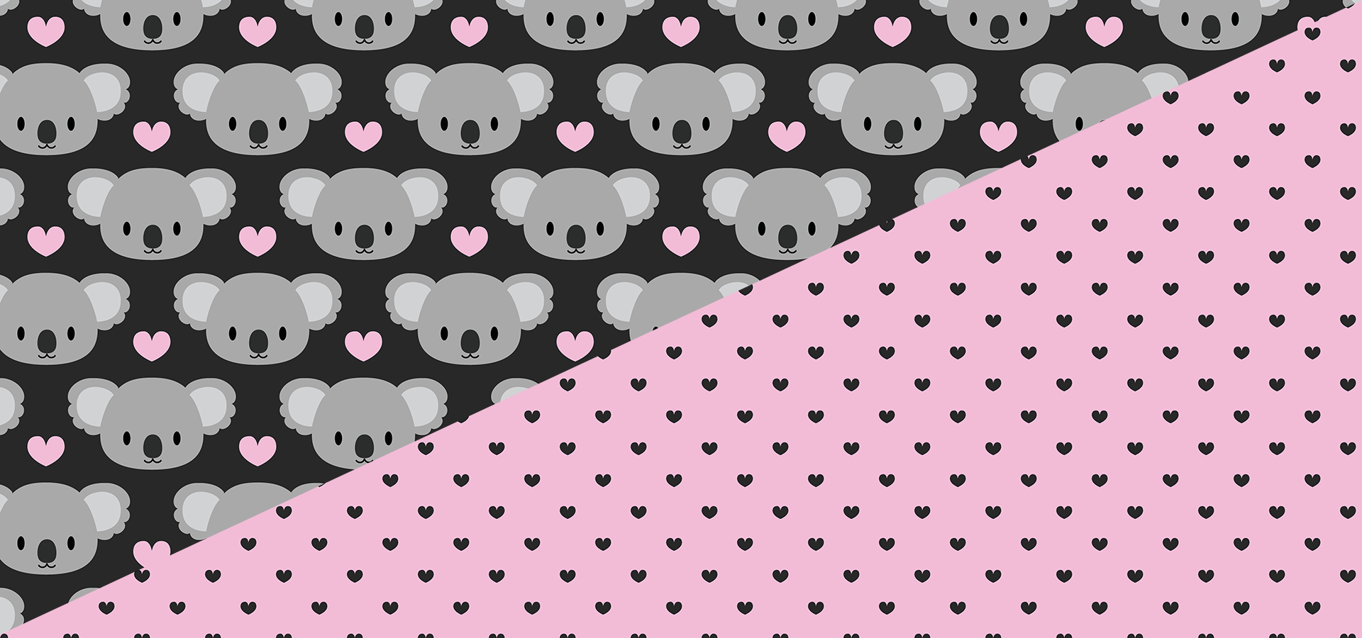 Cute koalas and tiny hearts pattern collection