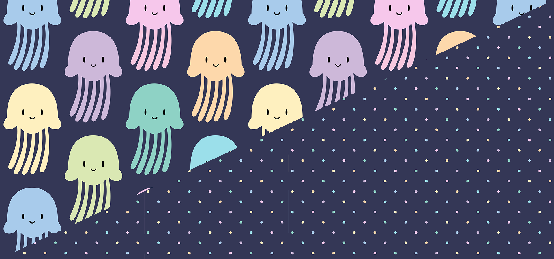 cute colorful jellyfishes pattern collection by petits pixels
