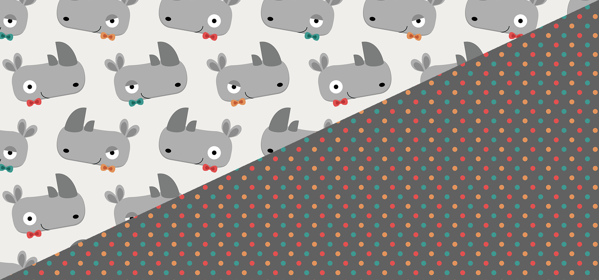 rhinoceros with bow ties pattern collection by petits pixels