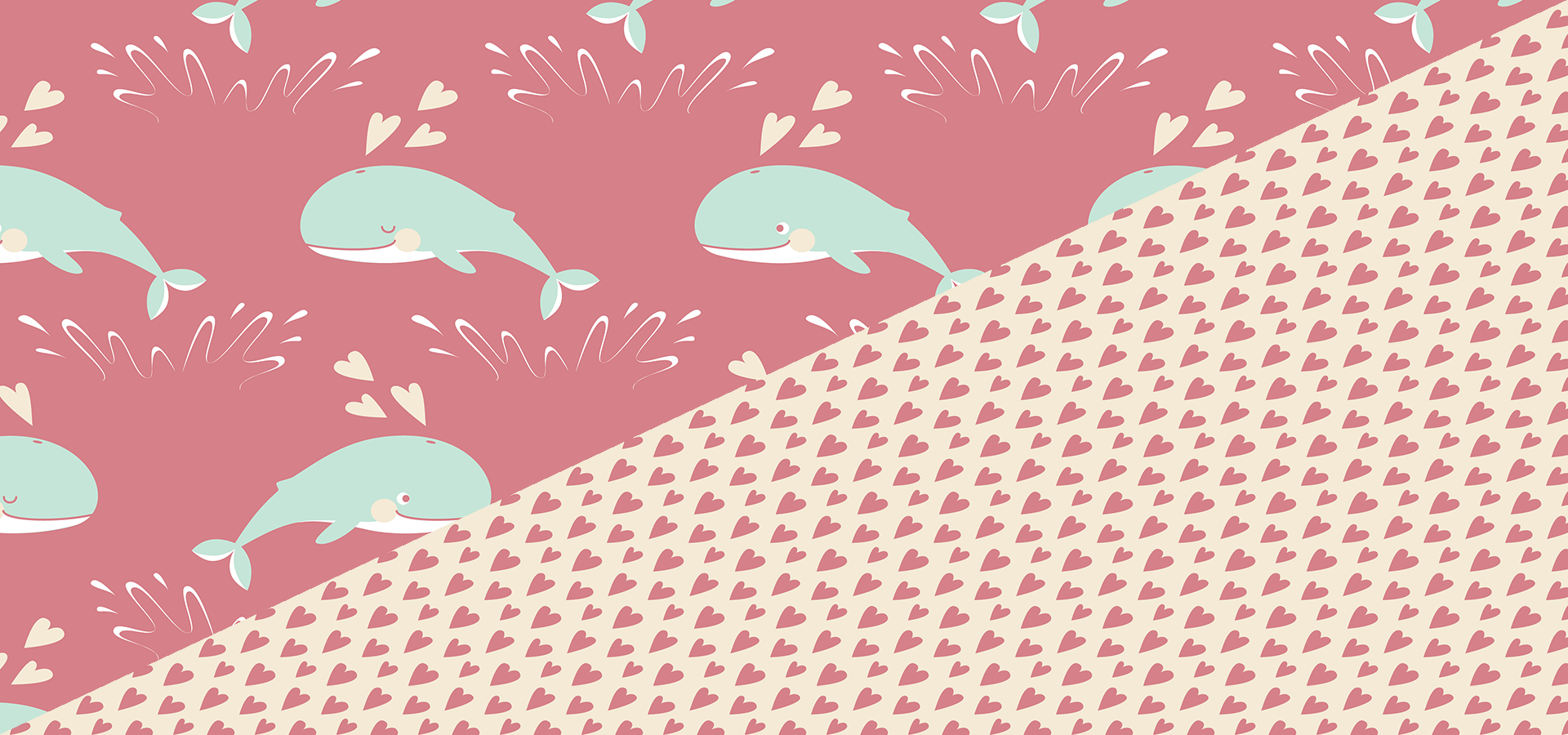cute jumping whales pattern collection by petits pixels