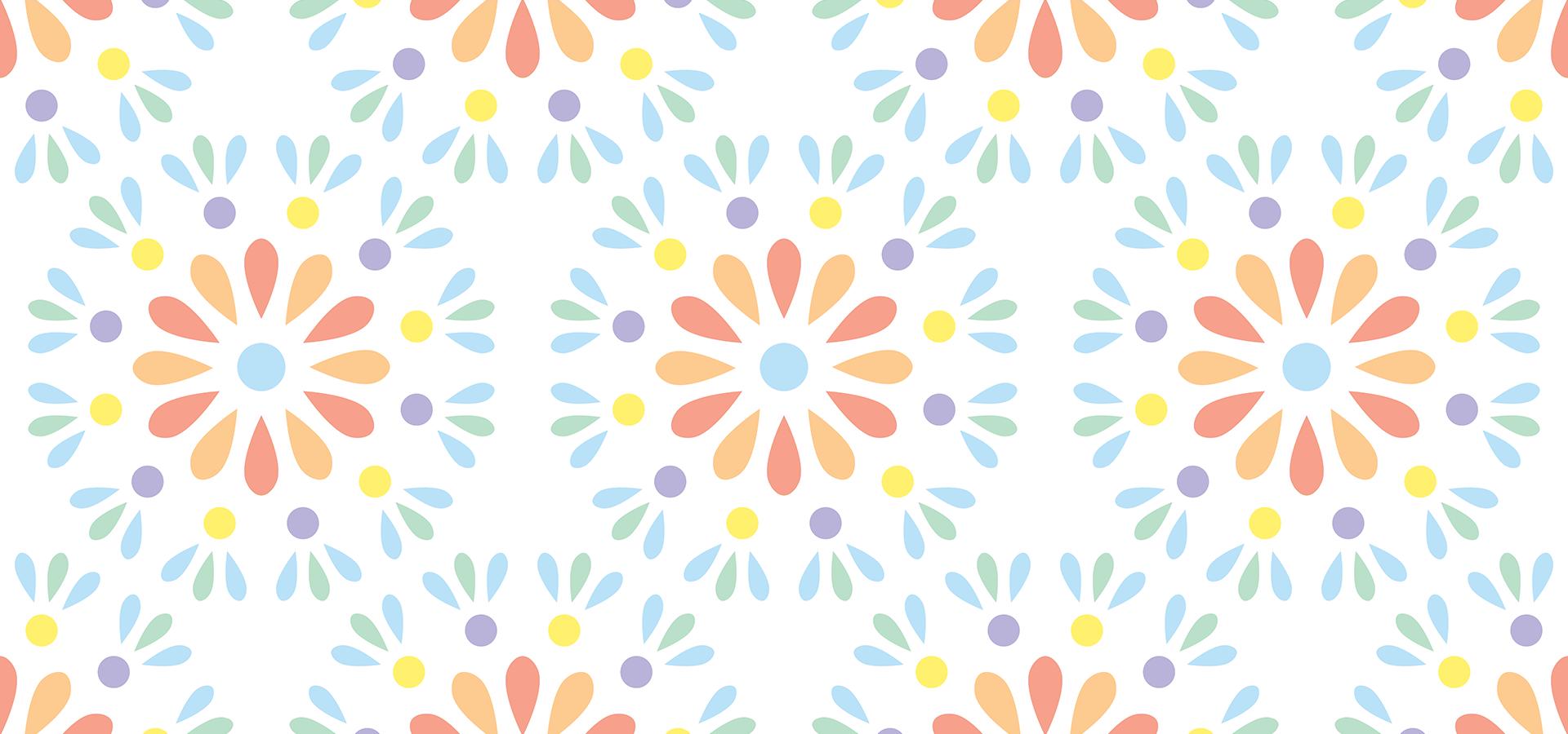motif fleurs géométriques pastel petitspixels