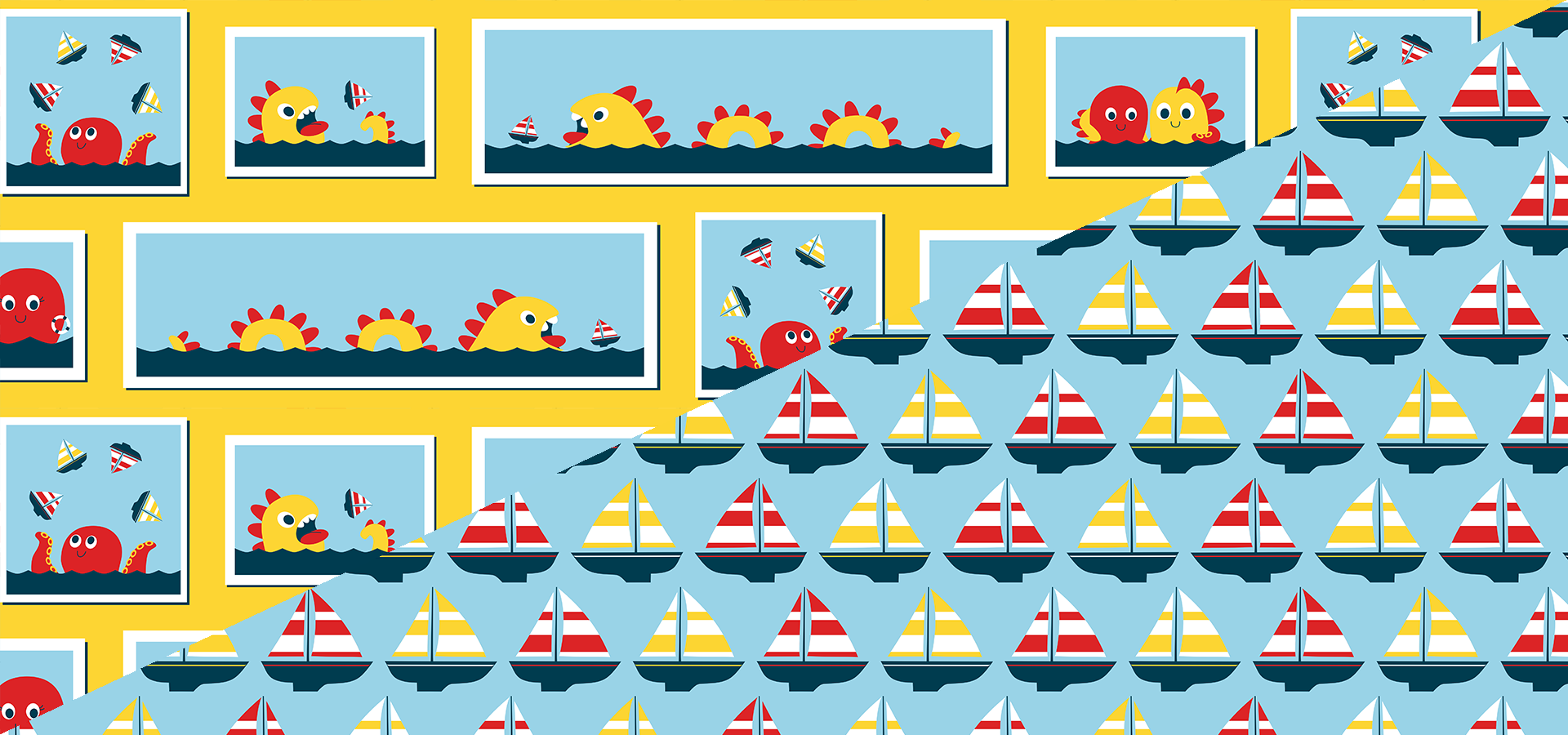 sailboats and monsters pattern collection