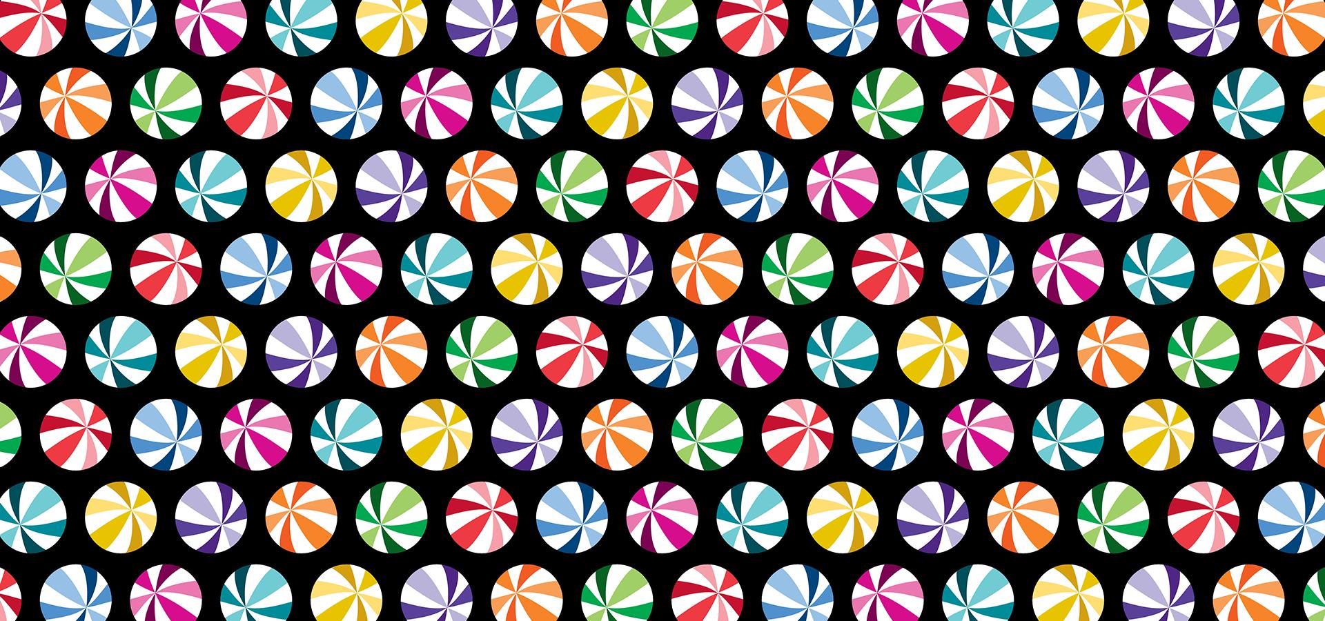 motif billes à rayures colorées sur fond noir