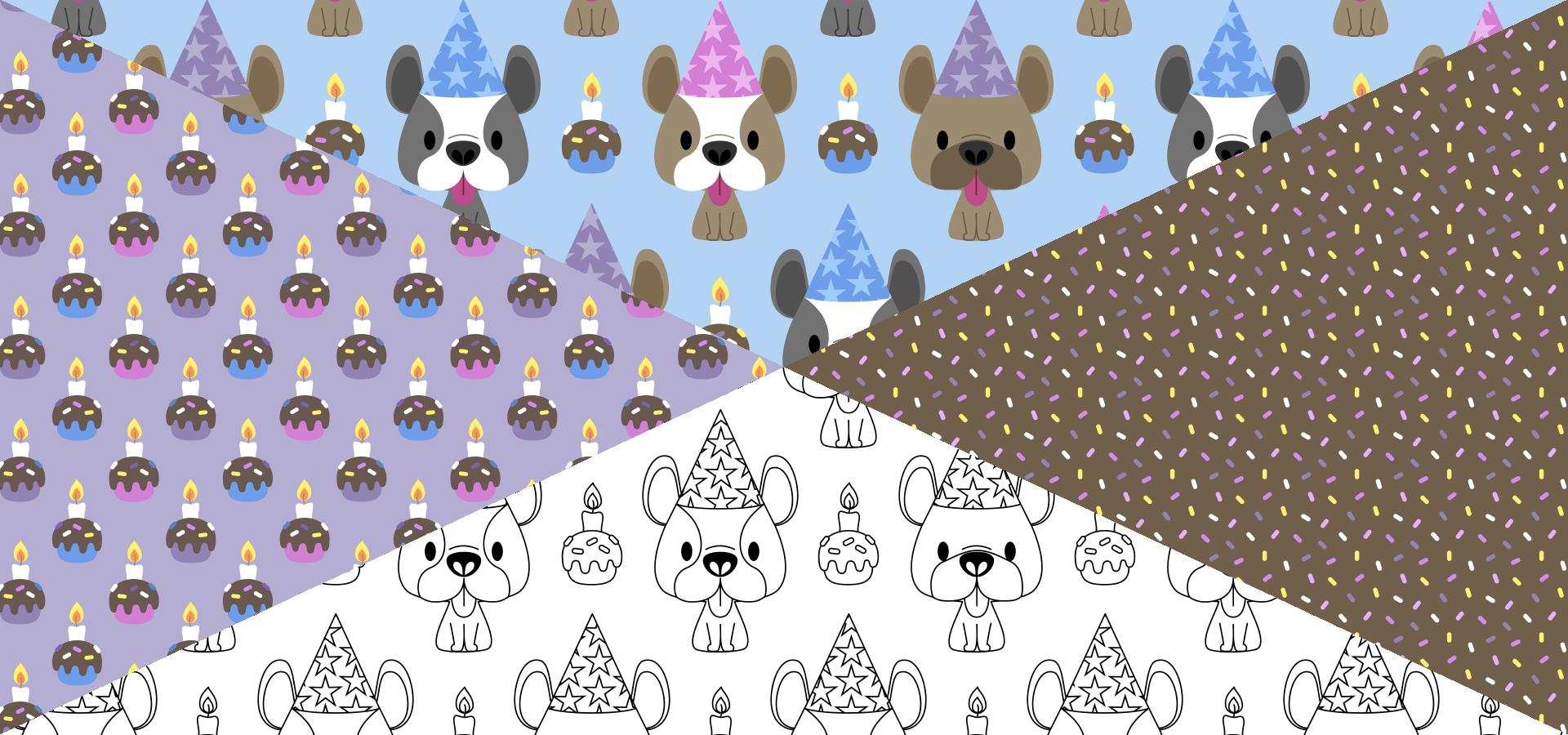 Collection de motifs Fête d'anniversaire pour bouledogues