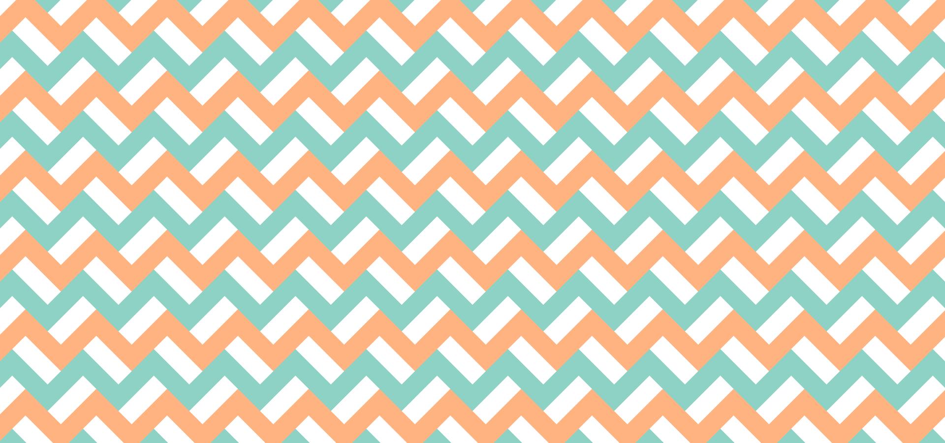 Motif zigzags oranges et turquoises