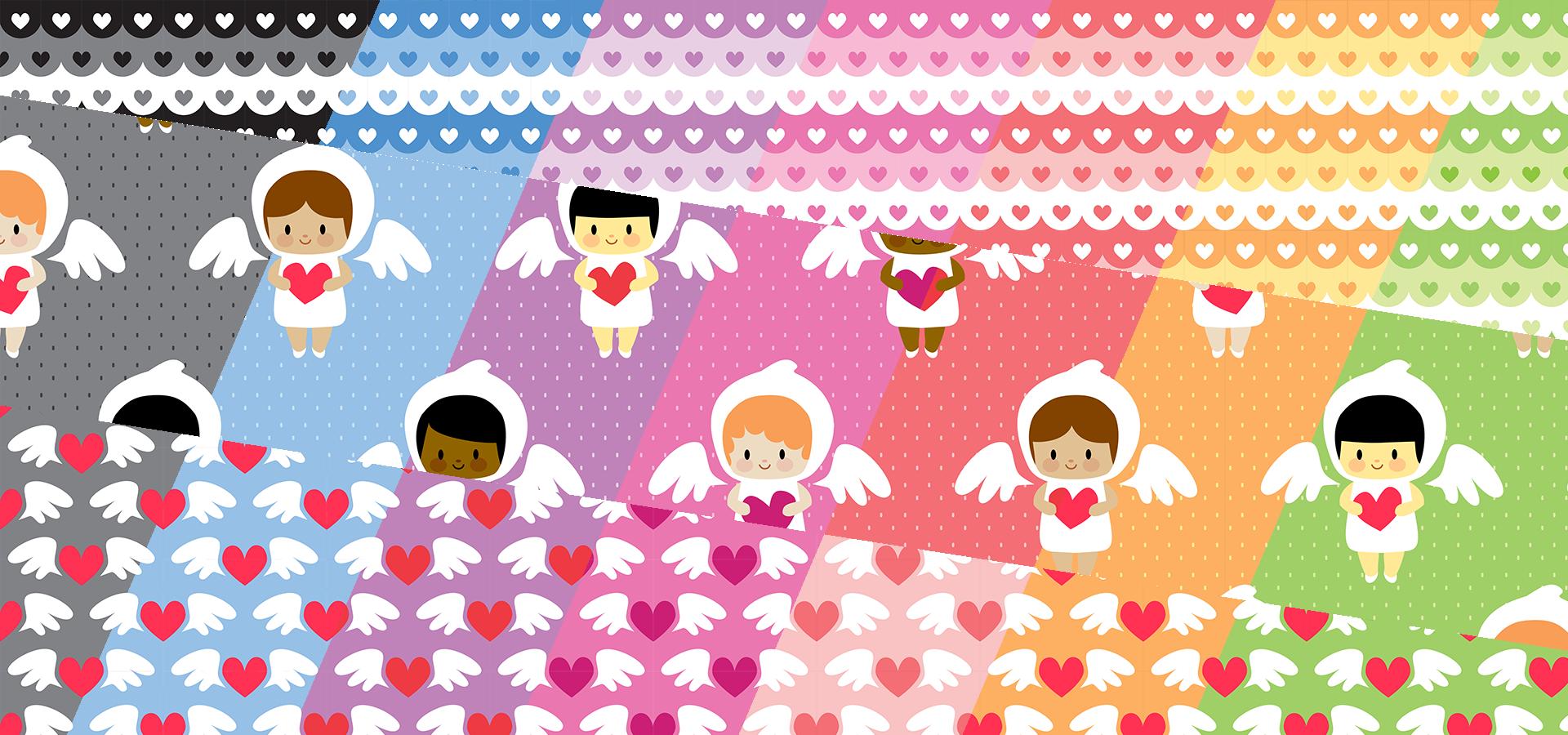 Collection motifs anges kawaii et petits coeurs