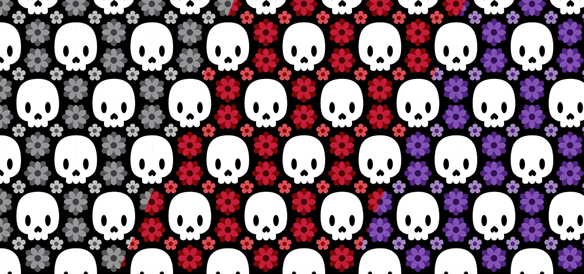 Collection de motifs crânes et fleurs