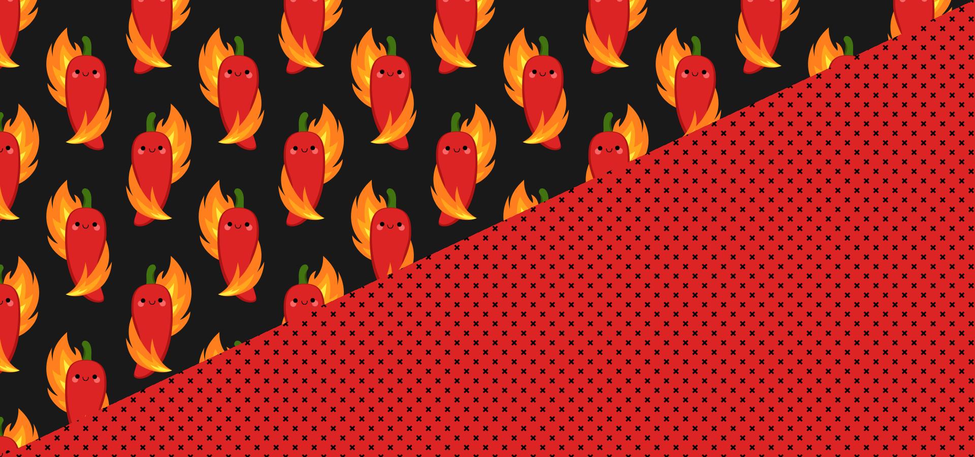 Collection de motifs petits piments rouges et flammes