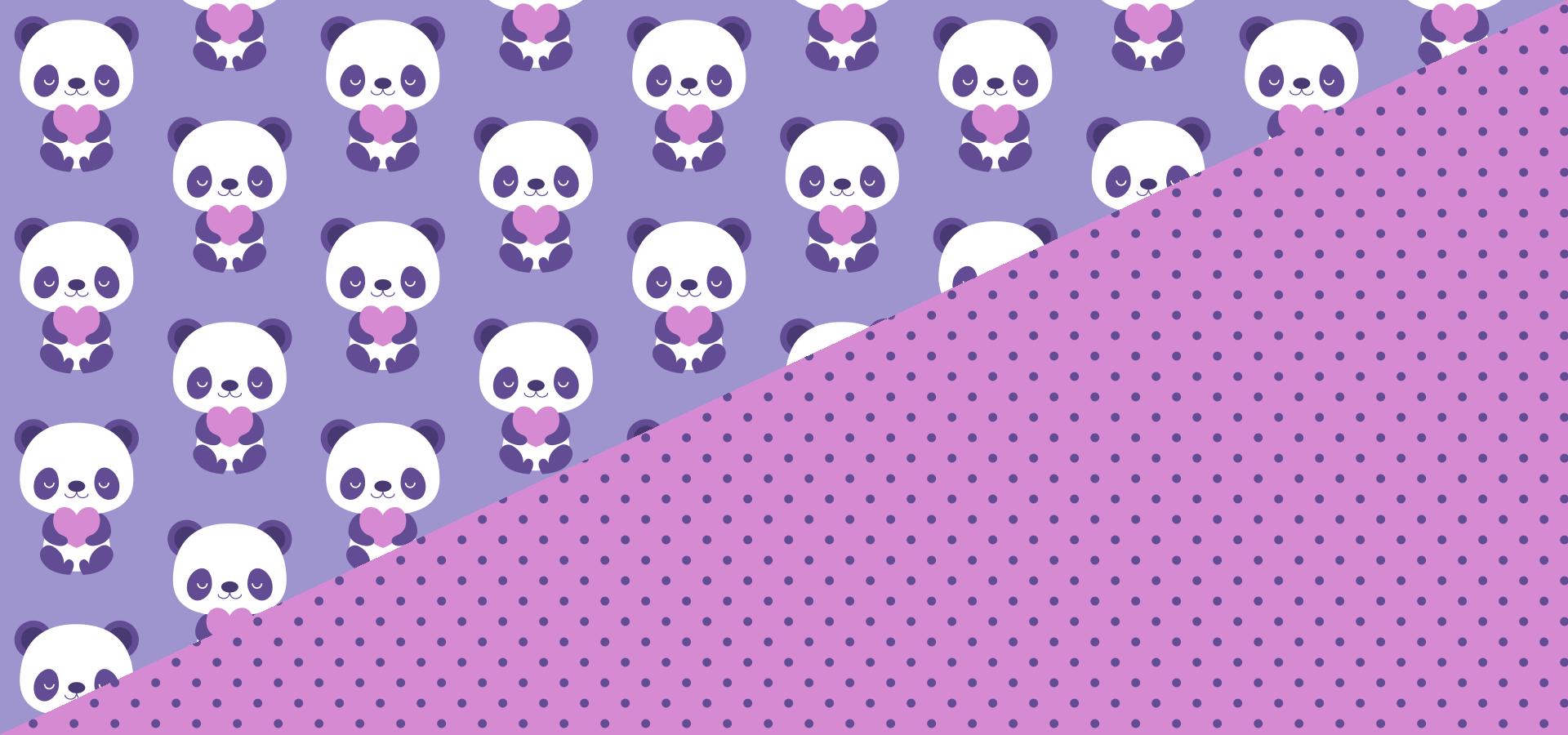 Collection de motifs bébés pandas violets