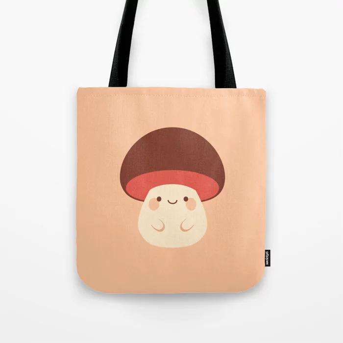 a tote bag printed with a cute mushroom