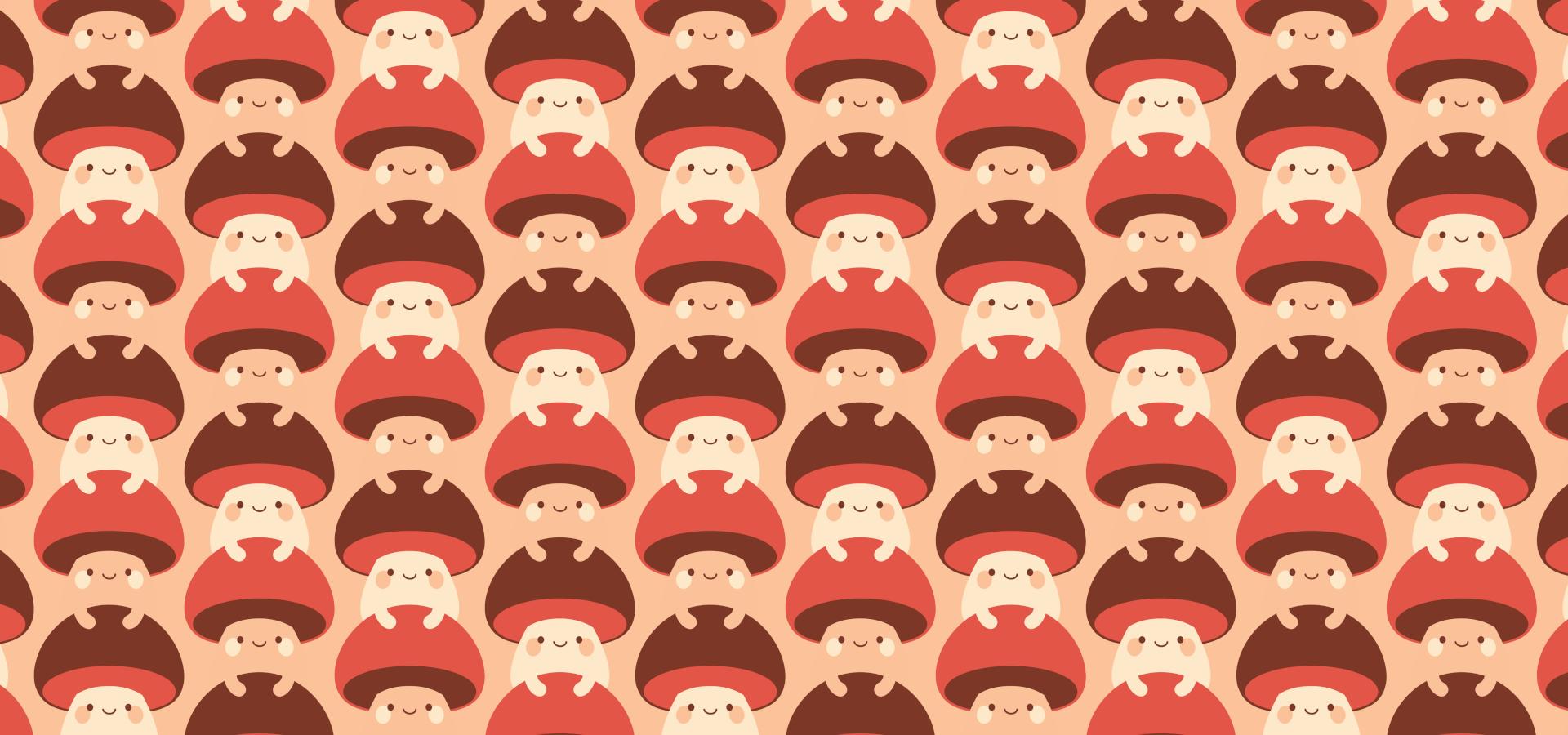 A pattern of cute mushrooms